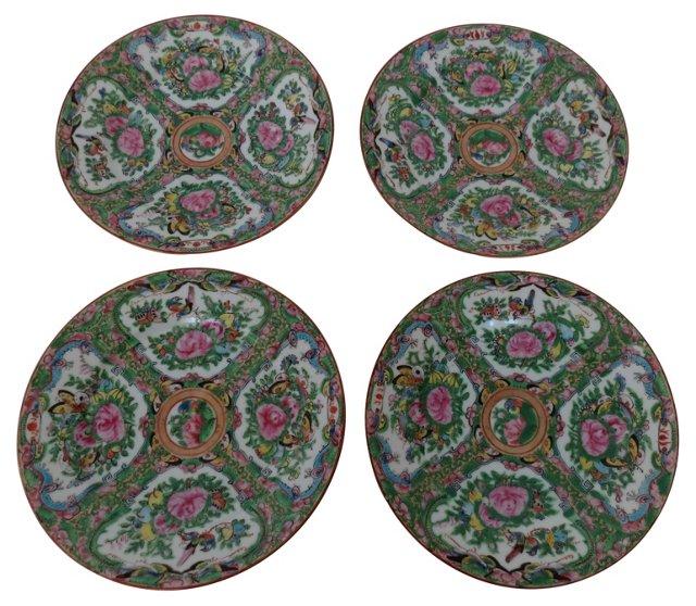 Porcelain Rose Medallion  Plates, S/4