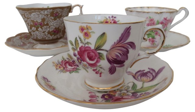 Assorted English Teacups, S/3