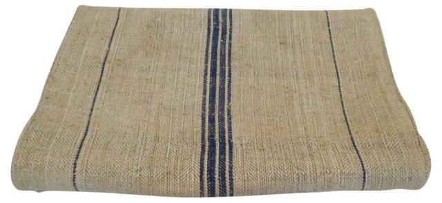 French Grain Sack w/ Blue  Stripes