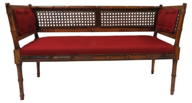 Faux-Bamboo   Cane-Back Settee