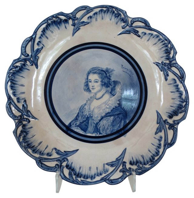19th-C. Hand-Painted English Plate