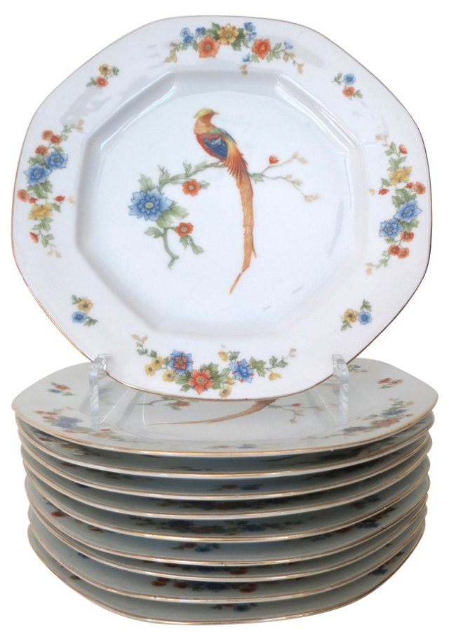 Porcelain Peacock Dinner Plates, S/10