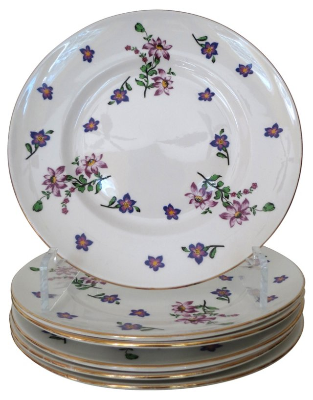 English Purple Floral Plates, S/6