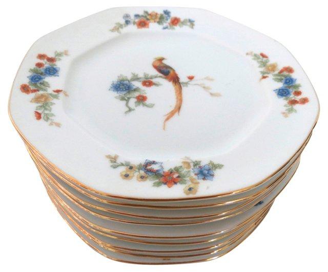 Porcelain Floral & Peacock Plates, S/10
