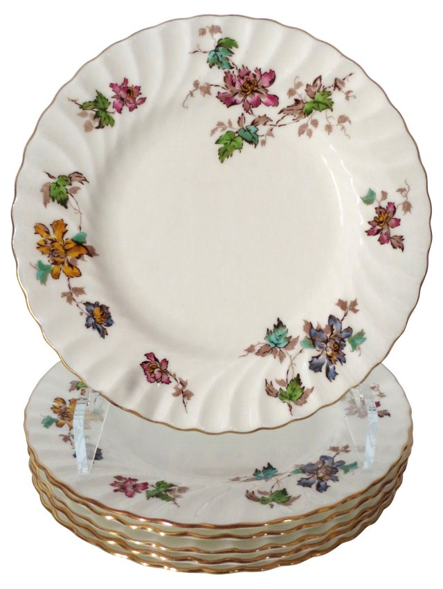 Gilt Minton Floral Plates, S/6