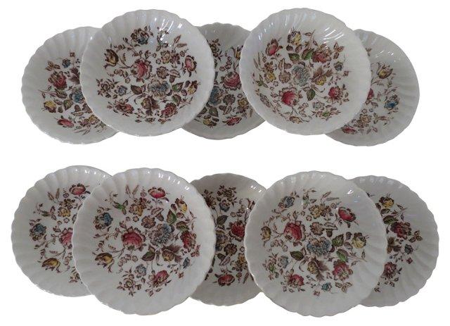 English Floral Bowls, S/10