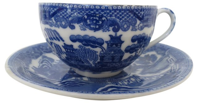 Blue Willow Porcelain Cup & Saucer
