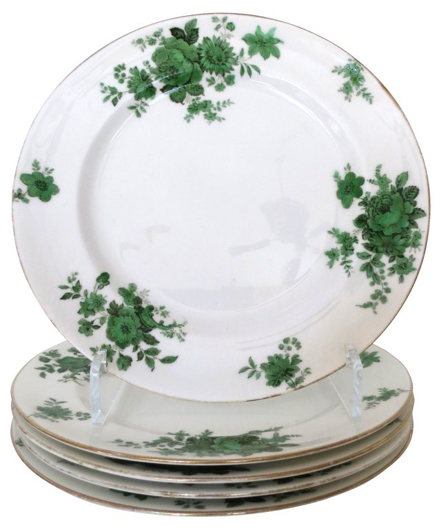 Crown Doulton Green Floral Plates, S/5