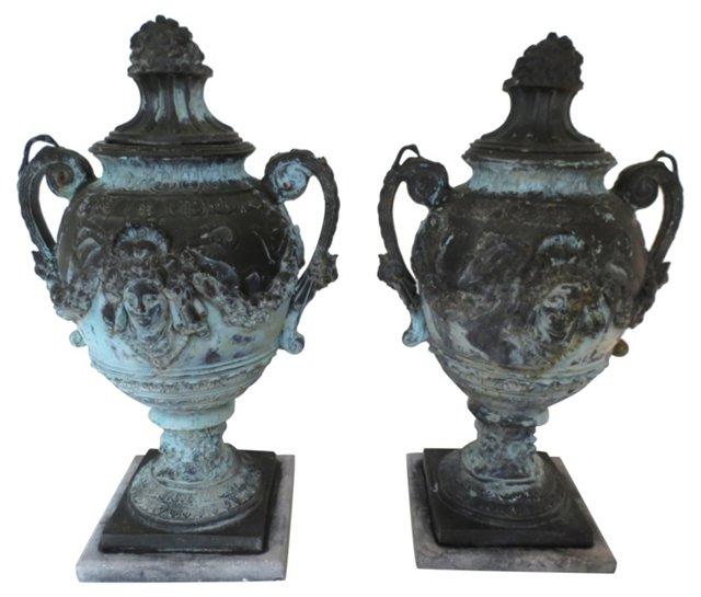 French Bronze Urns, Pair