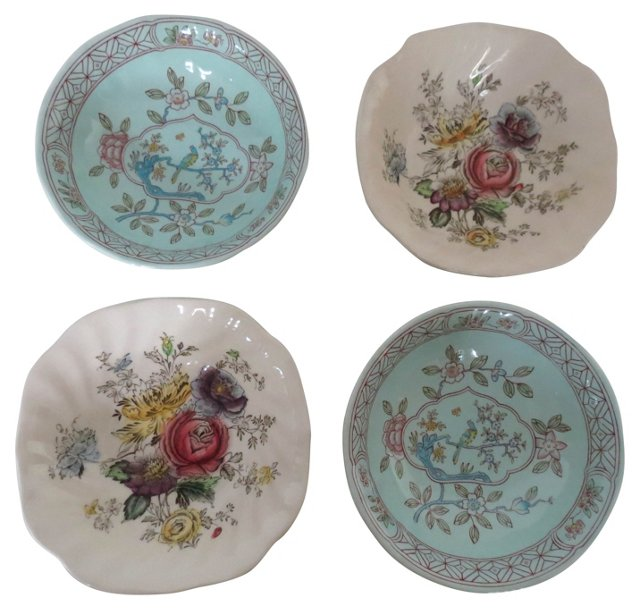 Mismatched English Floral Bowls, S/4