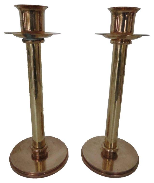 Brass & Copper Candleholders, Pair
