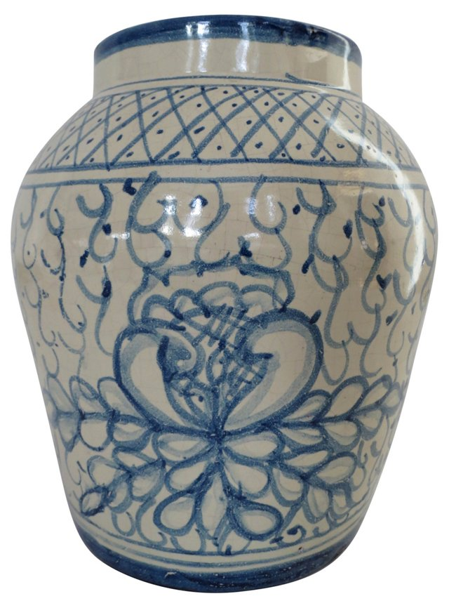 Hand-Painted Blue Vase