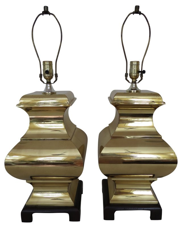 Asian-Style Brass Lamps, Pair