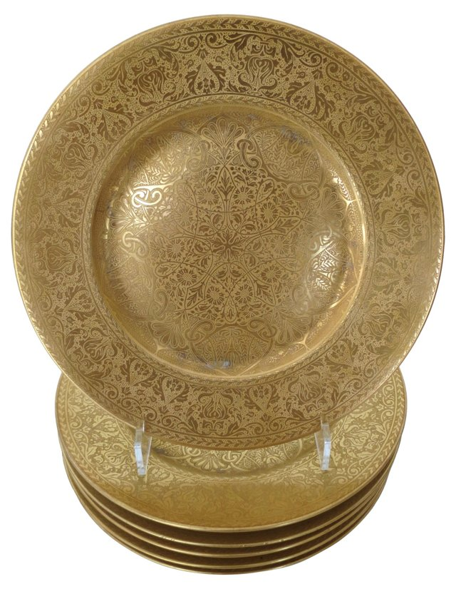 Gold Bavarian Dinner Chargers, S/6