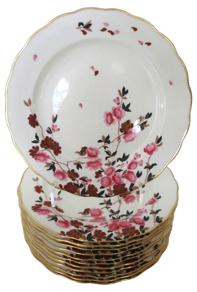 19th-C. Pink English Dinner Plates, S/12