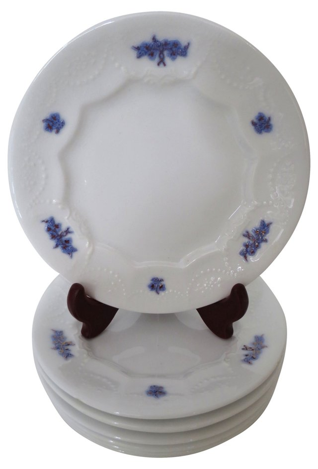 English Blue Chelsea Plates, S/8