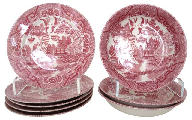 Red Willow Plates & Bowls, S/8