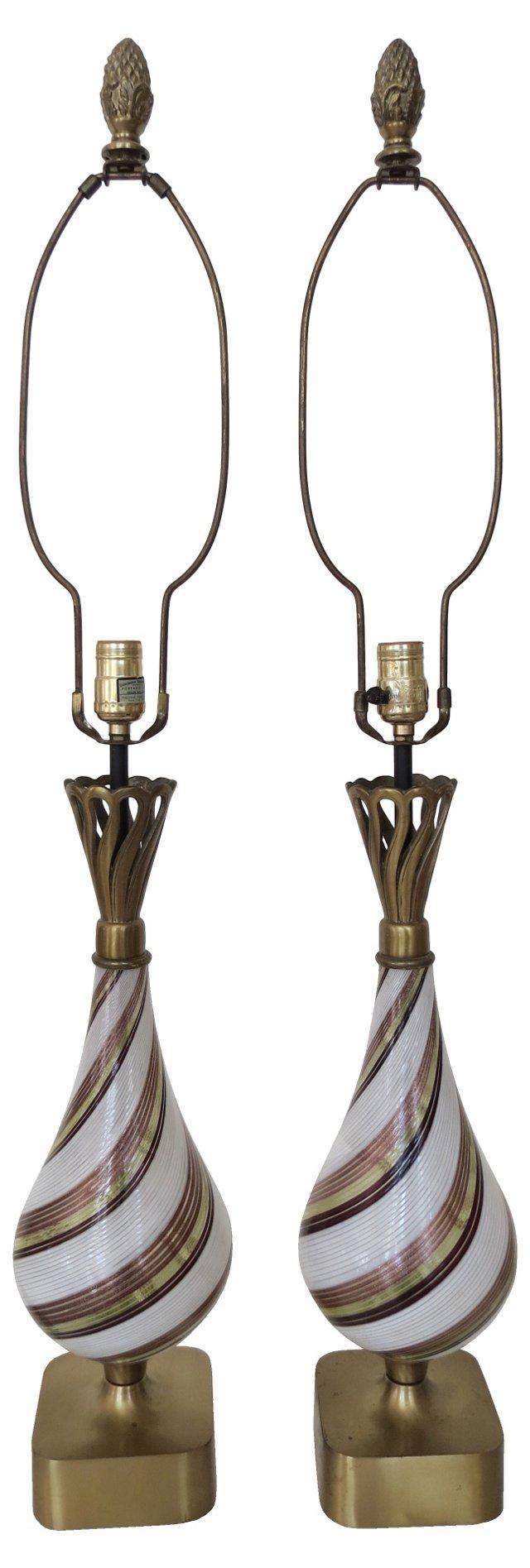 Murano Dino Marten Lamps, Pair