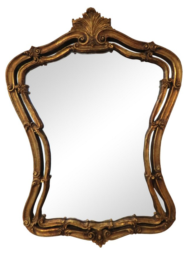 Italian Giltwood Baroque-Style Mirror