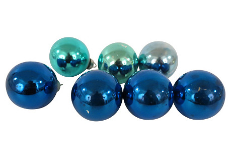 Cobalt & Turquoise Ornaments, S/7