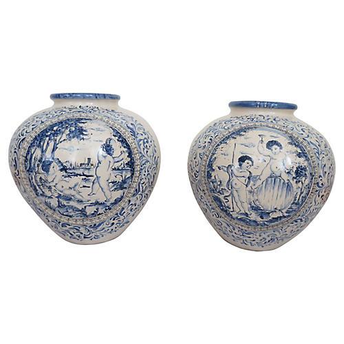 Italian Faience Floor Vases, Pair