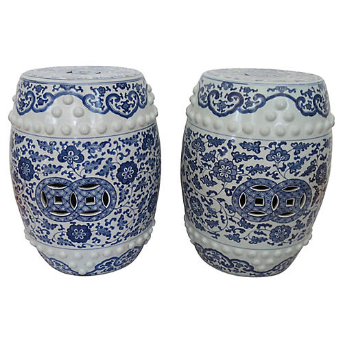 Chinese Pierced Porcelain Stools, Pair