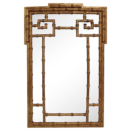 Faux-Bamboo Gilt La Barge Mirror