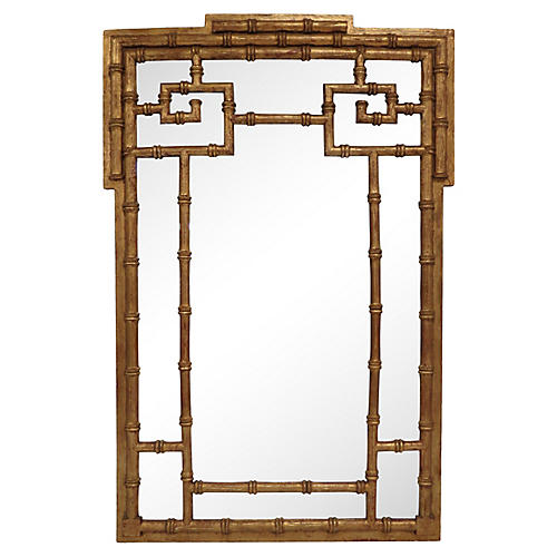 Faux-Bamboo Gilt La Barge Mirror
