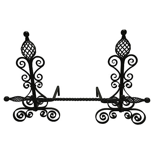 Arts & Crafts Andirons w/ Crossbar, S/2