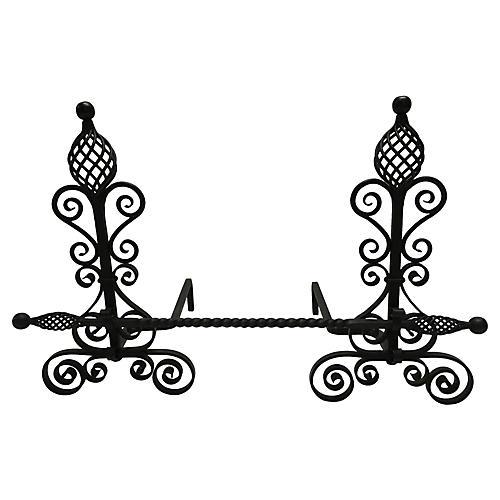 Arts & Crafts Andirons w/ Crossbar, S/2