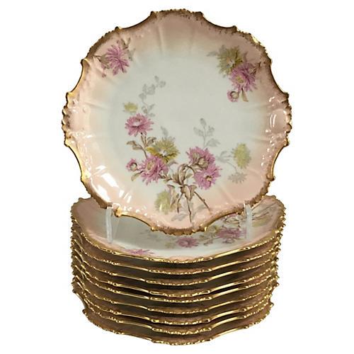 Pink Quartz & Gold Limoges Plates, S/10