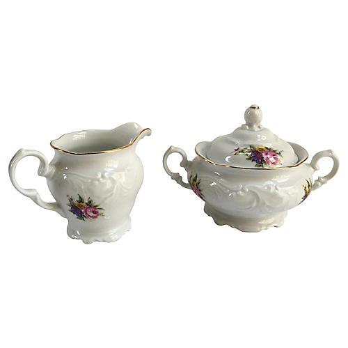 Rococo-Style Gilt Cream & Sugar, S/2