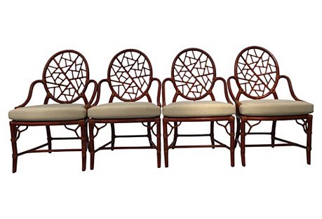 McGuire Lattice Back Dining Chairs, S/4