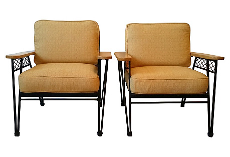 Mathieu Mategot Iron Lounge Chairs, Pair