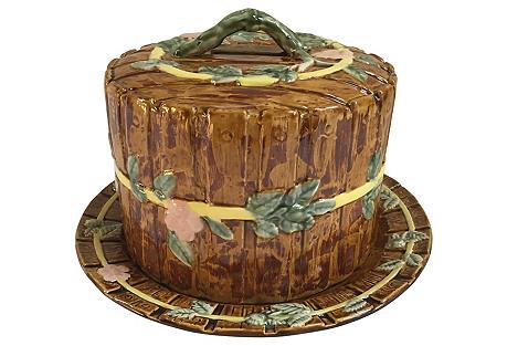 English Majolica Cheese Dome