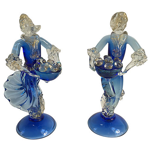 Murano Cobalt Figurines, Pair