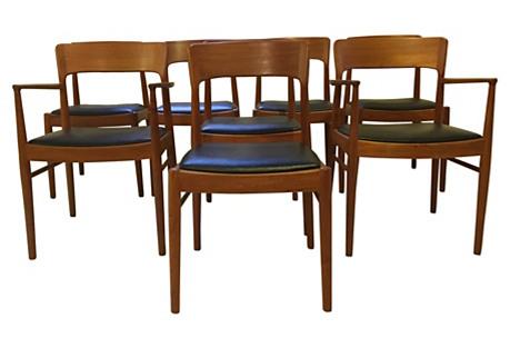 Kai Kristiansen Teak Dining Chairs, S/8