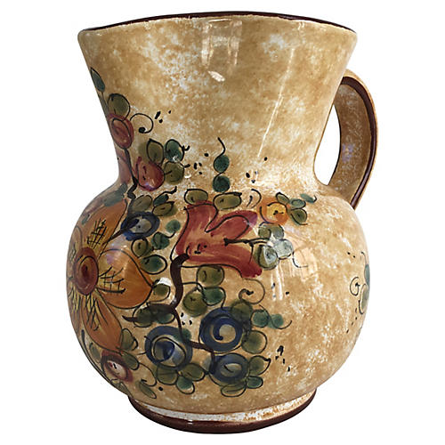 Hand-Painted Italian Pitcher