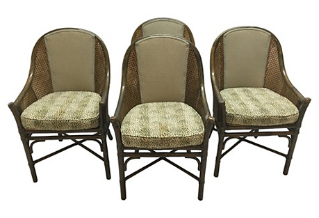 McGuire Bamboo Chairs, S/4