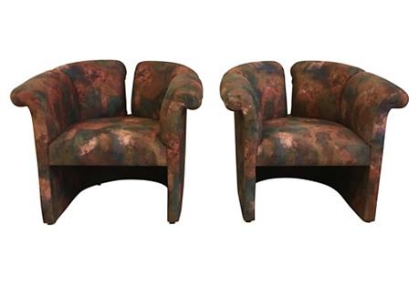Baughman Art Deco Revival Chairs, Pair