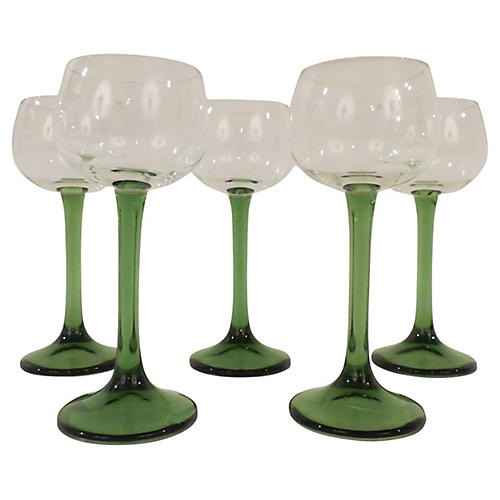 French Green Stem Wine Goblets, S/5