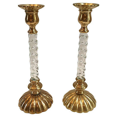 Brass & Lucite Candleholders, S/2