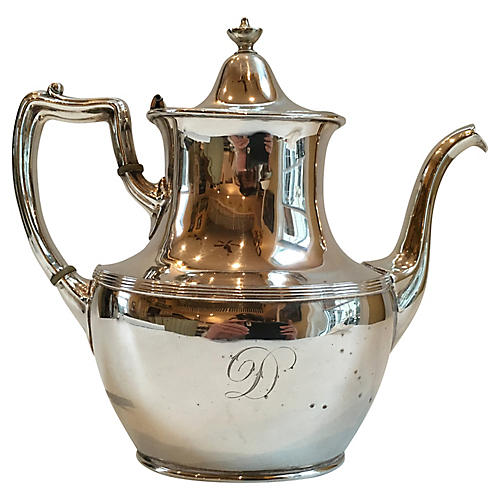 Silver Plate Monogrammed Tea Pot
