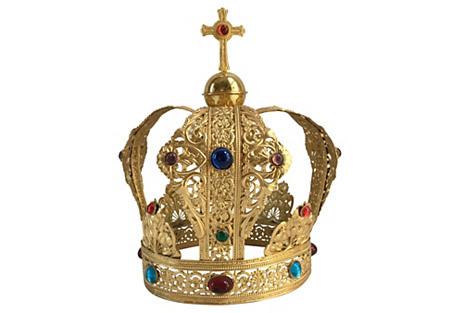 Brass Filigree Cabochon Crown