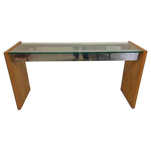 Wood & Chrome Glass Console