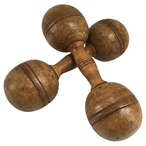 19th-C. Wood Dumbells