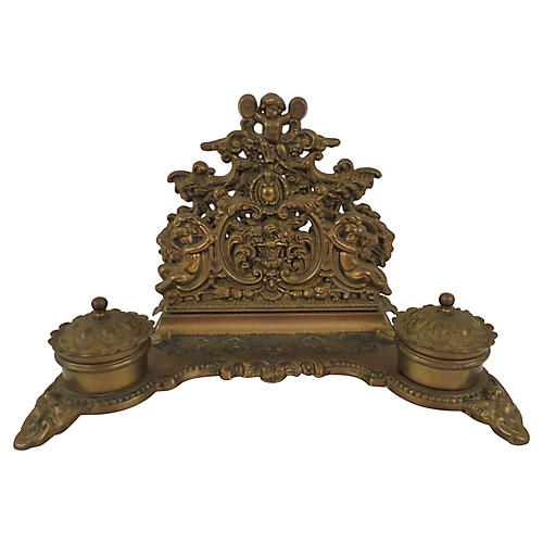 Louis XVI-Style French Bronze Inkwell