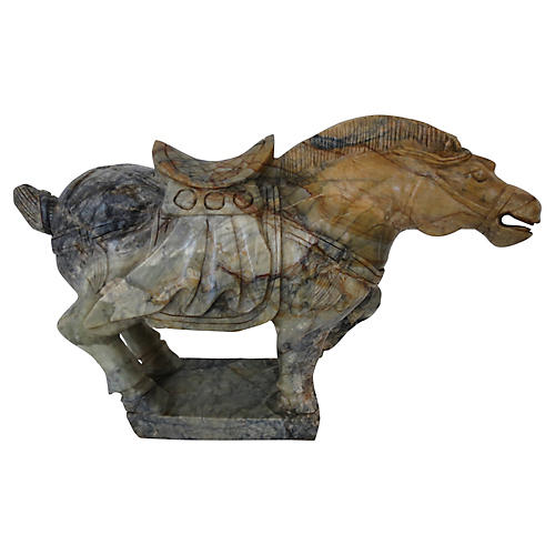 Chinese Hand-Carved Marble Tang Horse