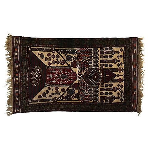 "2'10""x 4'7"" Vintage Baluch Iranian Rug"