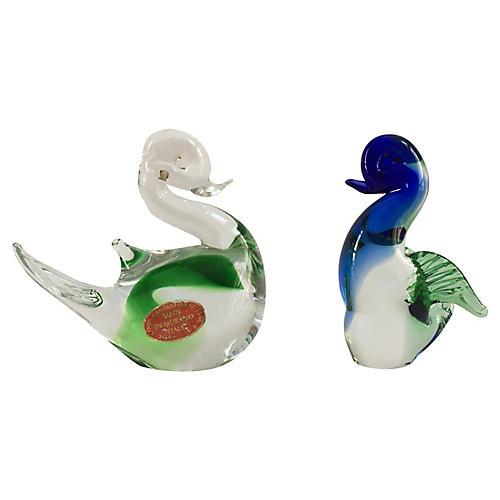 Murano Handblown Swans, S/2